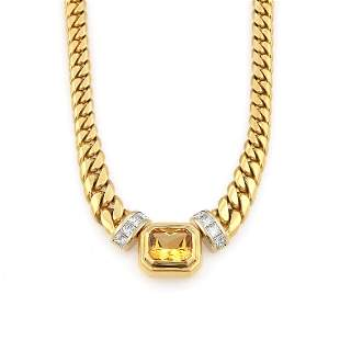 18K YG Greg Drake Citrine Diamond Necklace