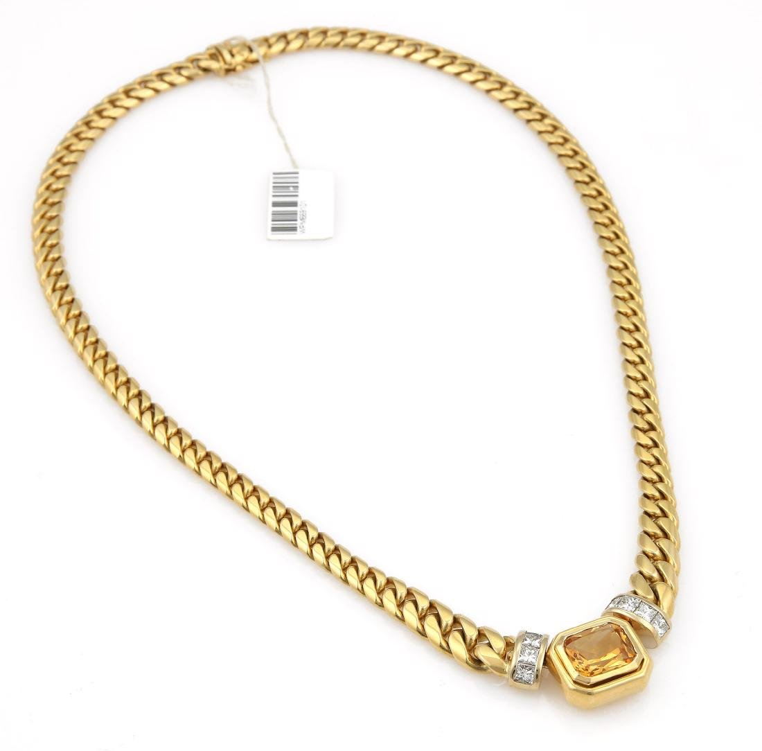 18K YG Greg Drake Citrine Diamond Necklace - 2