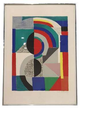 "Sonia Delaunay Lithograph ""Icon"" 1970"