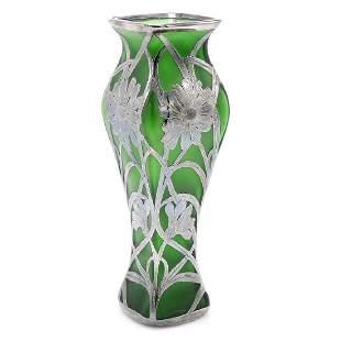 Green Sterling Silver Floral Overlay Vase