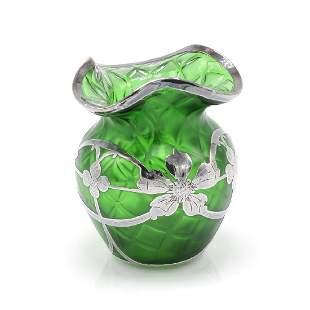 Green Bud Vase with Sterling Silver Flower Design