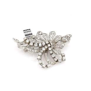 Platinum 1950's Fancy Diamond Brooch / Pin