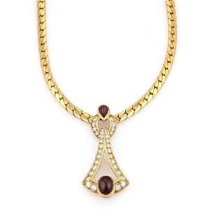 Cartier 18k YG Diamond Ruby Cabochon Necklace