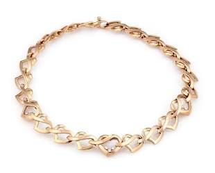 18K Rose Gold Chopard Happy Diamonds Heart Link