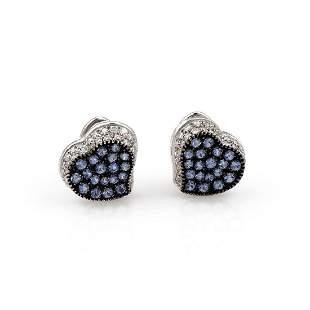 18K White Gold Sapphire and Diamond Heart Earrings