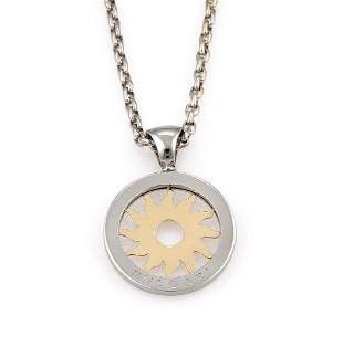 Bvlgari Stainless Steel and 18K YG Tondo Necklace