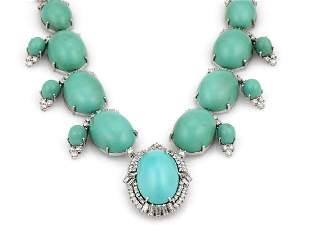 10K WG Turquoise Cabochon Diamond Dangle Necklace