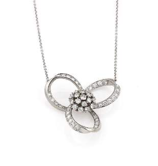 1950s Platinum Triple Loop Diamond Pendant Necklace