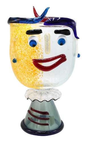 Stefano Toso Murano Italy Glass Face Vase
