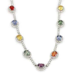 18K WG Diamond and Multicolored Semi Precious Necklace