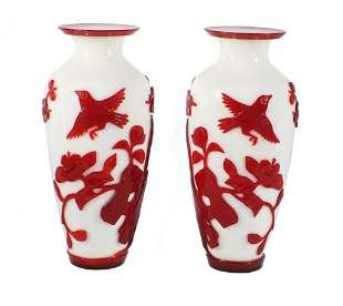 Early 20th Century Chinese Peking Glass Vases