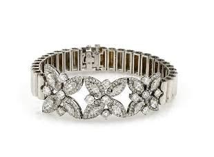 Unique Vintage Floral Diamond Bracelet 5.50cts