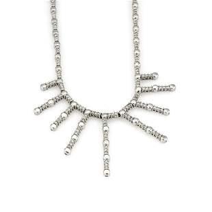 14k White Gold Circular Link Diamond Dangle Necklace