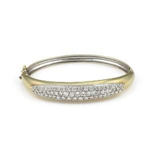 14K Yellow Gold Pave Diamond Bangle Bracelet