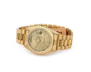 Rolex 18K Yellow Gold Day Date with Bark Bracelet 18078