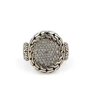 John Hardy Sterling Classic Chain Pave Diamond Ring -NR