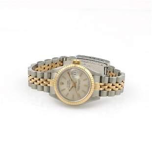 Lds Rolex 2 Tone Datejust Silver Dial Fluted Bezel