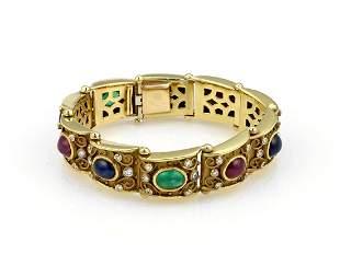 18K YG Multi Colored Cabochon Diamond Fashion Bracelet