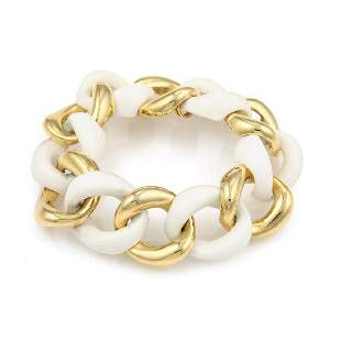Seaman Schepps 18K YG & Cocholong Link Bracelet