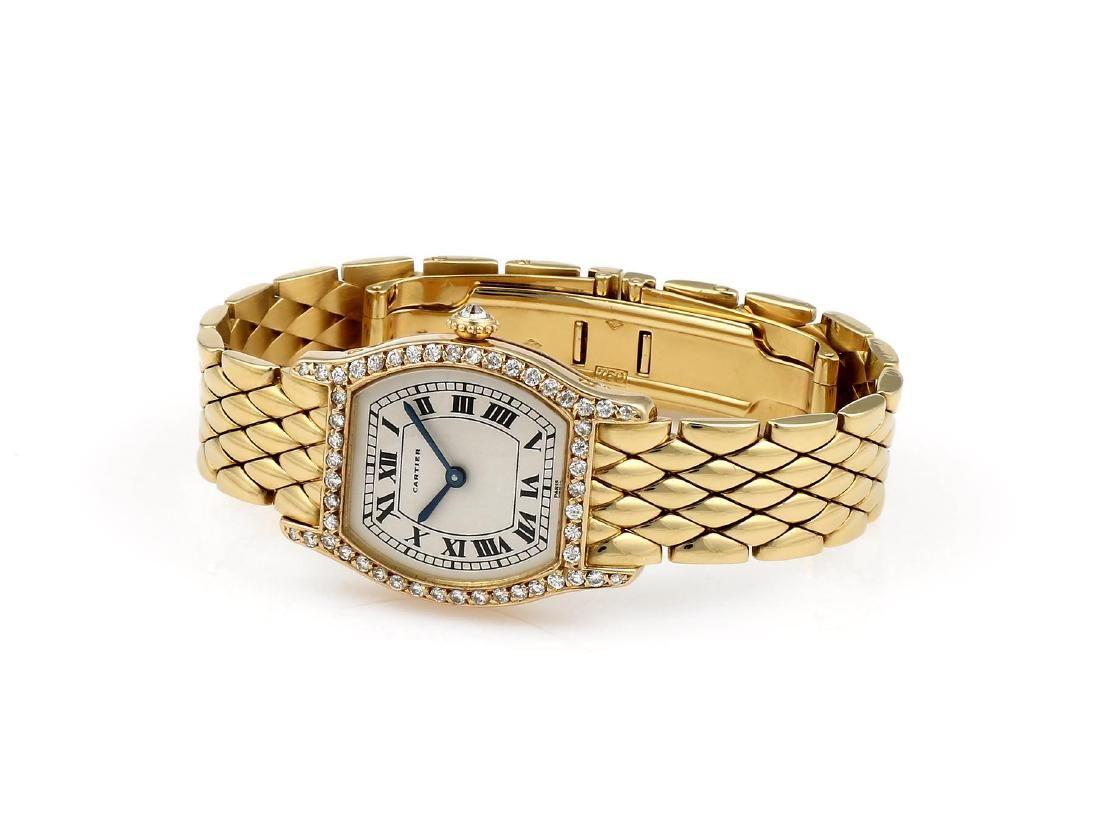 Ladies Yellow Gold Diamond Cartier Tortue Quartz Watch