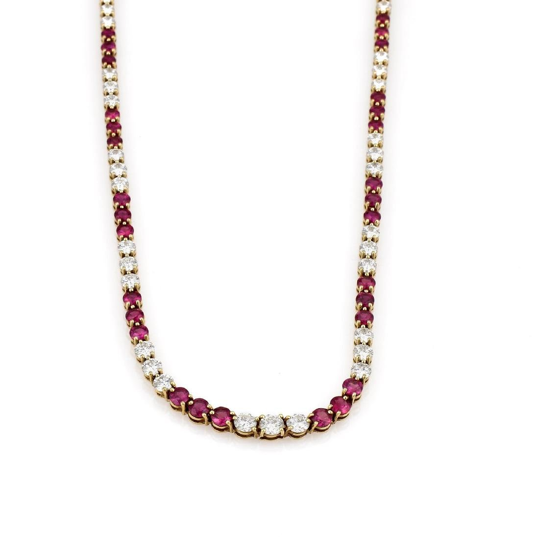 Tiffany & Co. Yellow Gold Diamond Ruby Tennis Necklace
