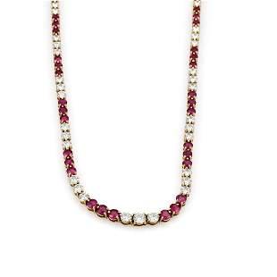 Tiffany & Co. Yellow Gold Diamond Ruby Tennis Necklace