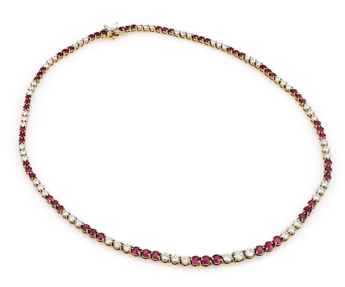 Tiffany & Co. Yellow Gold Diamond Ruby Tennis Necklace - 2