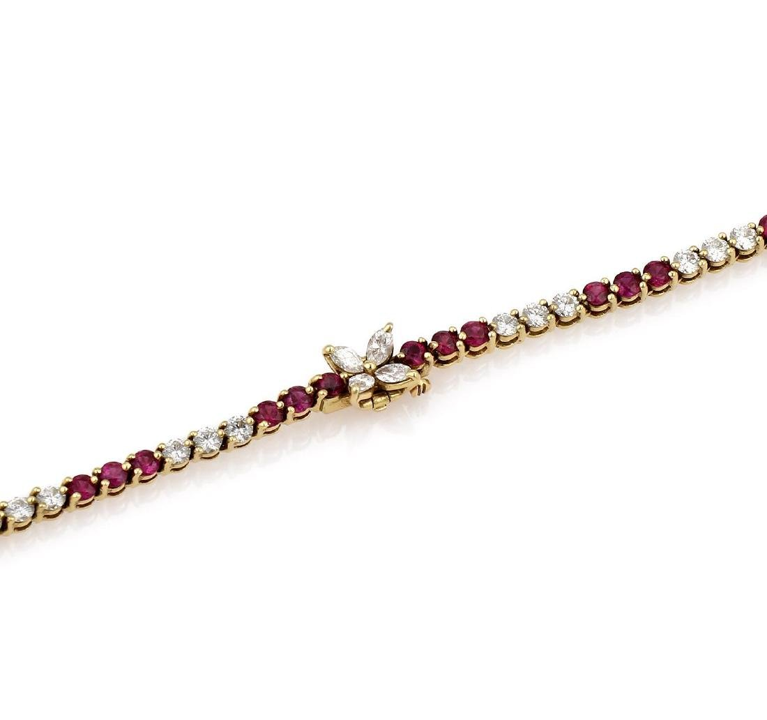 Tiffany & Co. Yellow Gold Diamond Ruby Tennis Necklace - 3