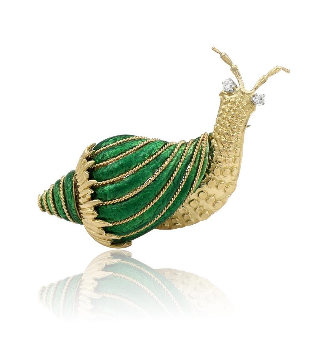 David Webb Paillonne Green Enamel Diamond Snail Brooch