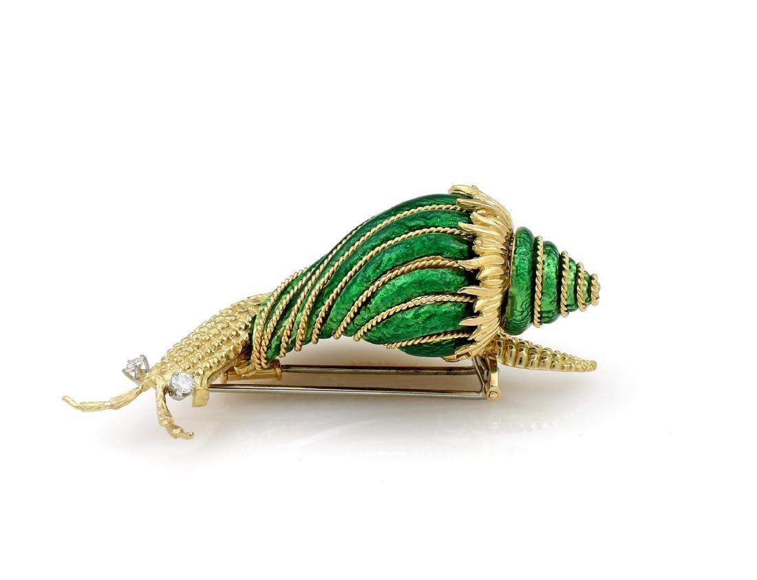David Webb Paillonne Green Enamel Diamond Snail Brooch - 2