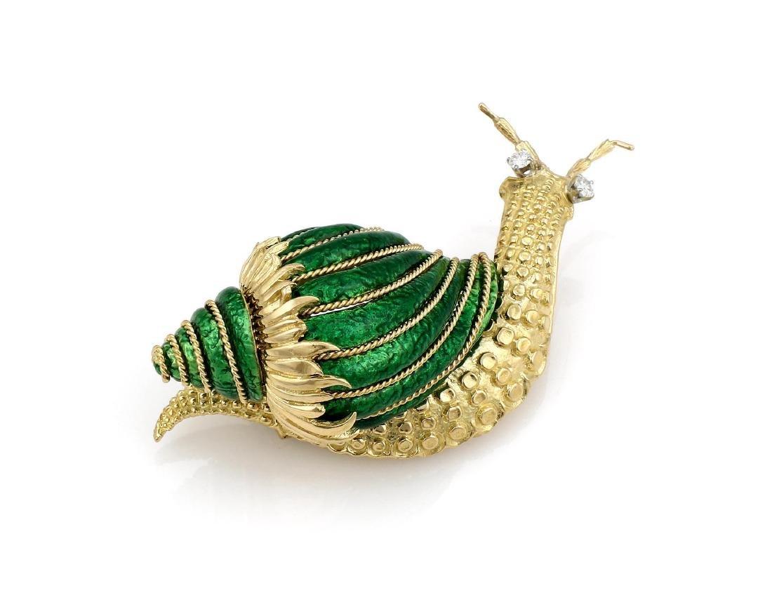 David Webb Paillonne Green Enamel Diamond Snail Brooch - 3