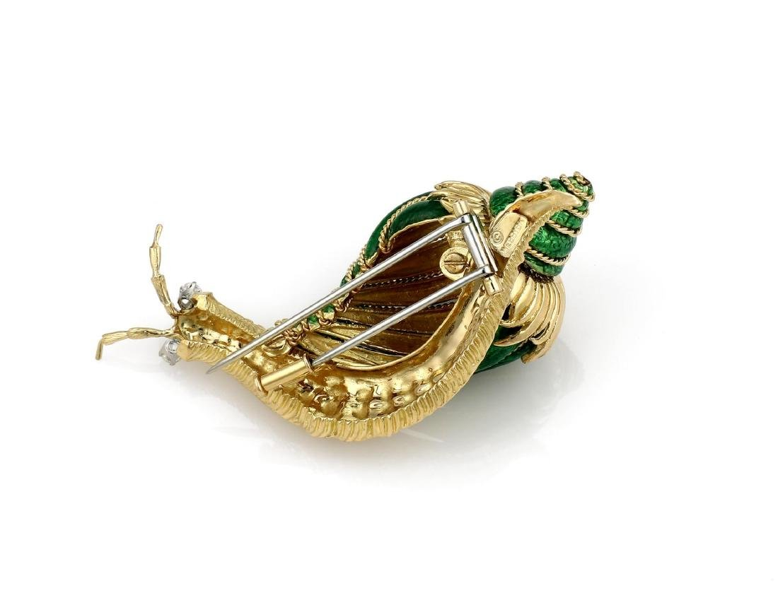 David Webb Paillonne Green Enamel Diamond Snail Brooch - 4