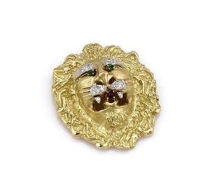 Hammerman Brothers Diamond Ruby Emerald Lion Pin