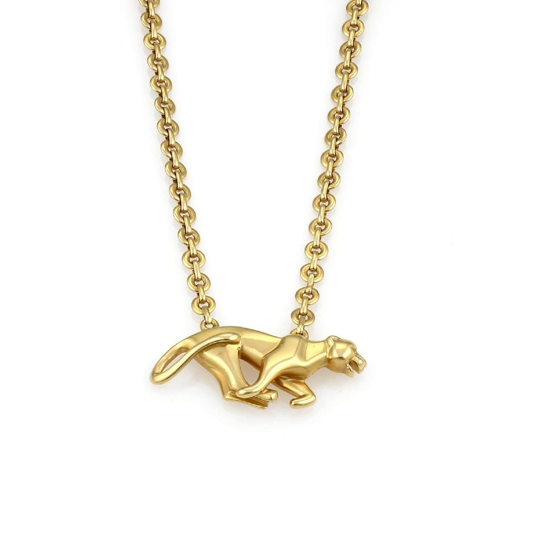 Cartier Yellow Gold La Strada Panther Necklace