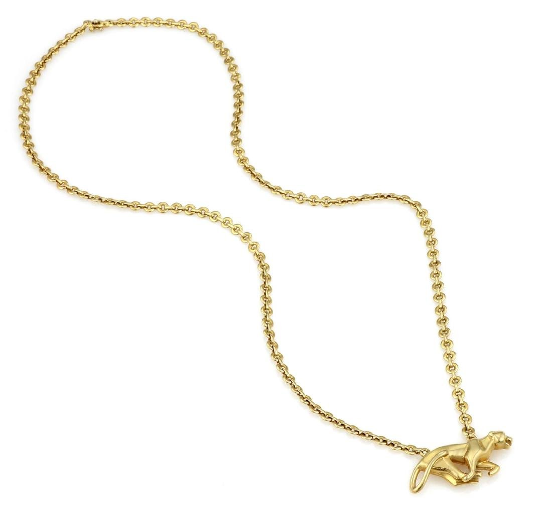 Cartier Yellow Gold La Strada Panther Necklace - 2