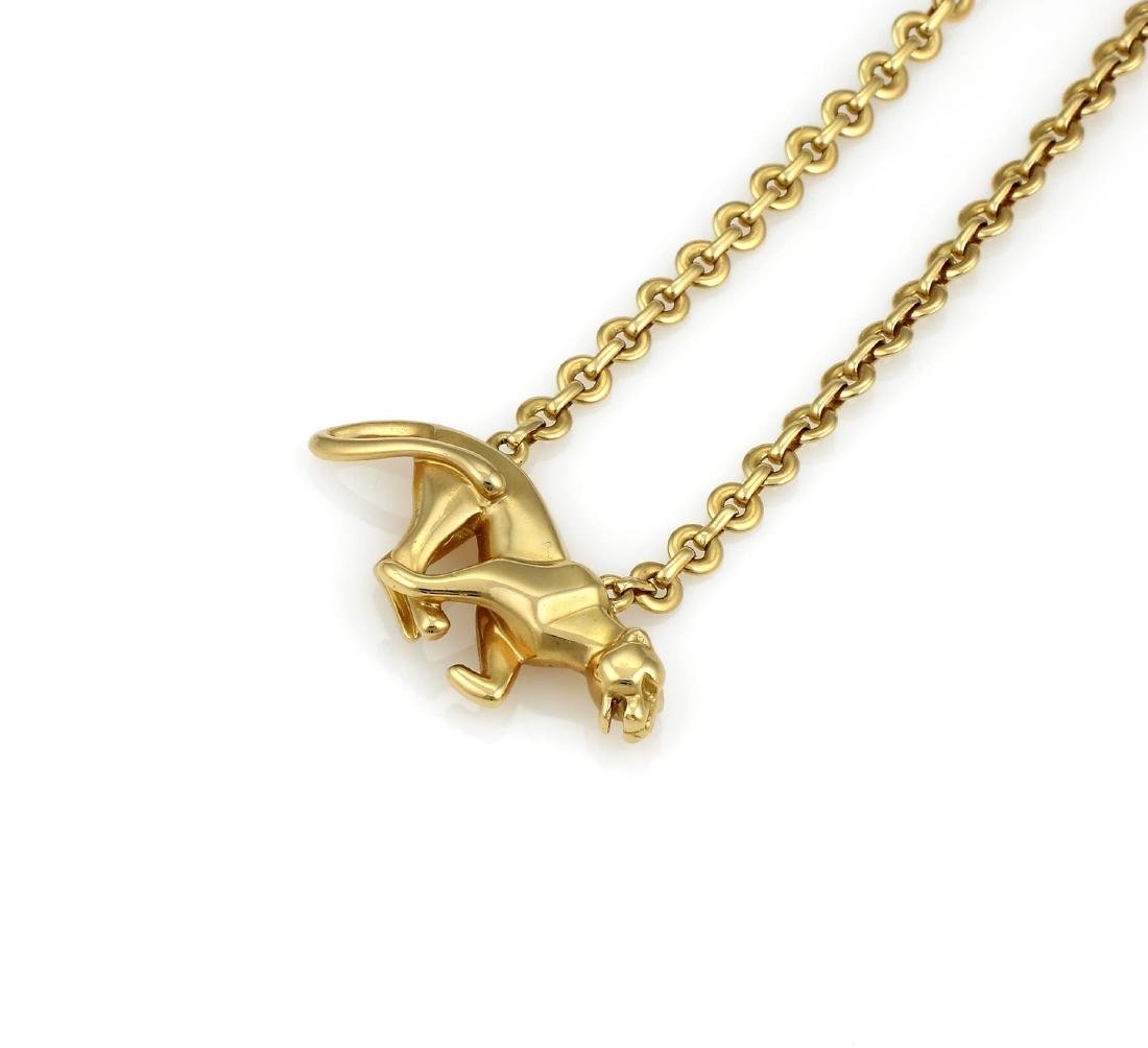 Cartier Yellow Gold La Strada Panther Necklace - 3