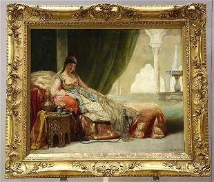 19th Century Portrait Oil on Canvas w/ Gold Leaf Frame