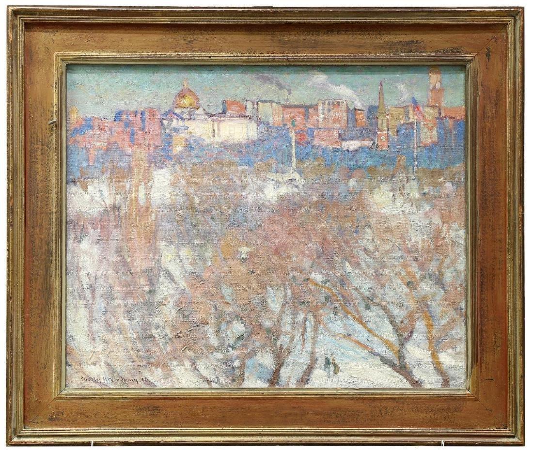 "Charles Woodbury (American 1864-1940) ""Beacon Hill"" Oil"