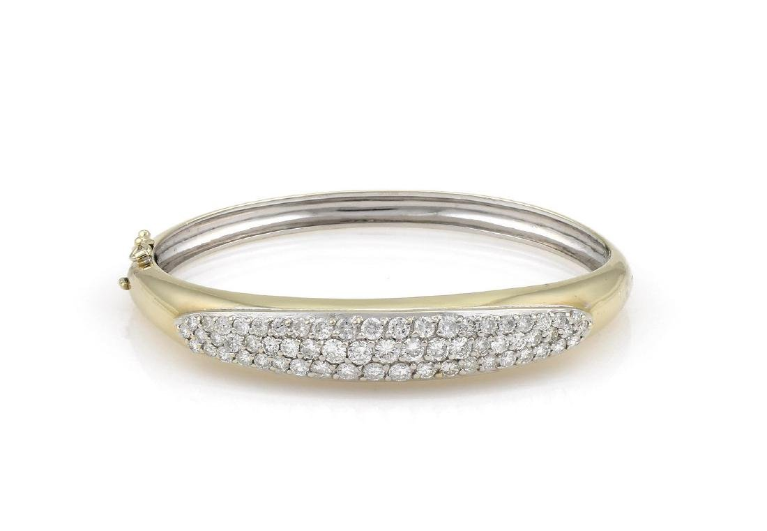 Yellow Gold Pave Diamond Bangle Bracelet
