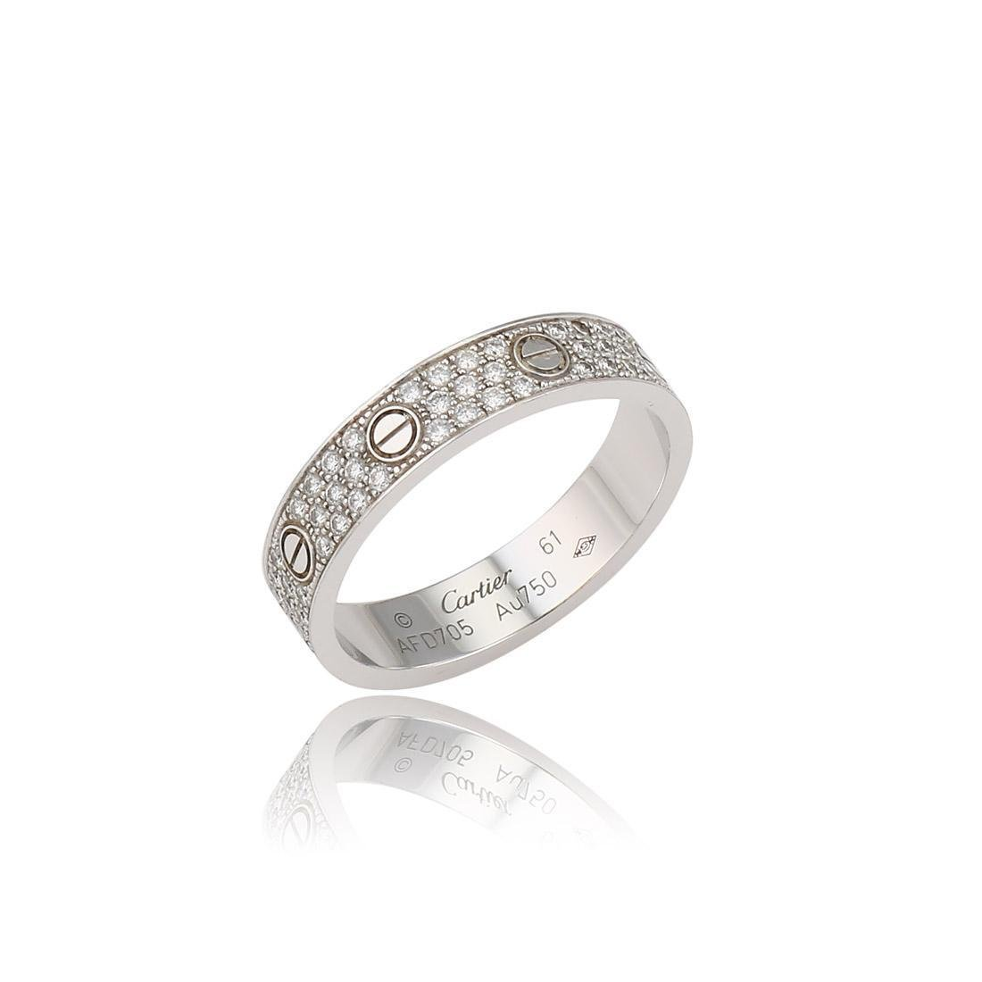 Cartier White Gold Pave Diamond Love Ring size 61