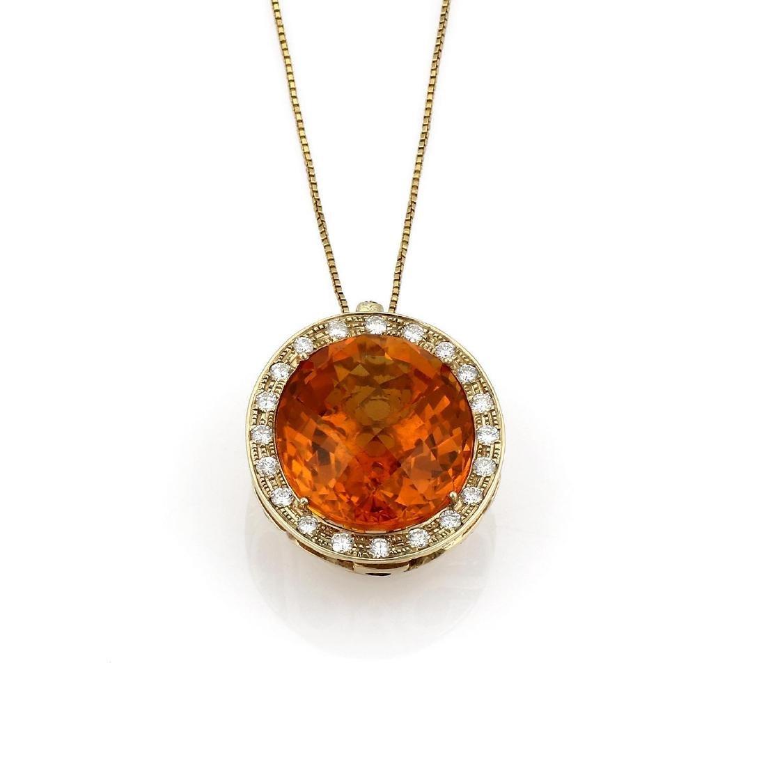Yellow Gold Citrine & Diamond Pendant Necklace