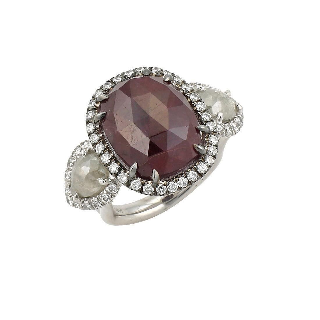 White Gold 18ct Rose Cut Ruby & Diamond Ring