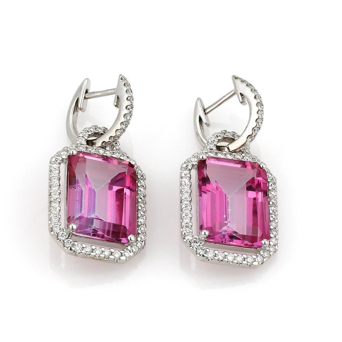 White Gold Pink Topaz Diamond Dangle Earrings