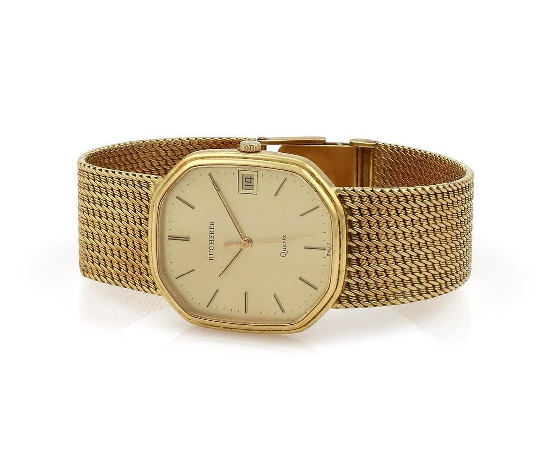 Vintage Bucherer 18k Yellow Gold Quartz Watch