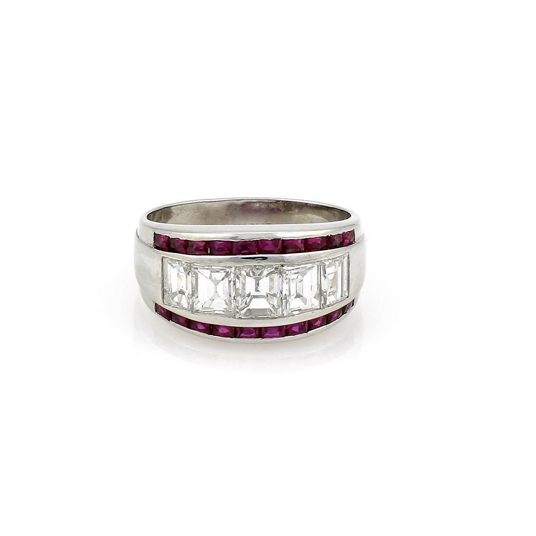 Platinum Retro Diamond and Ruby Band