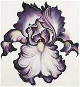Lowell Nesbit Violet and White Iris Oil on Canvas '88