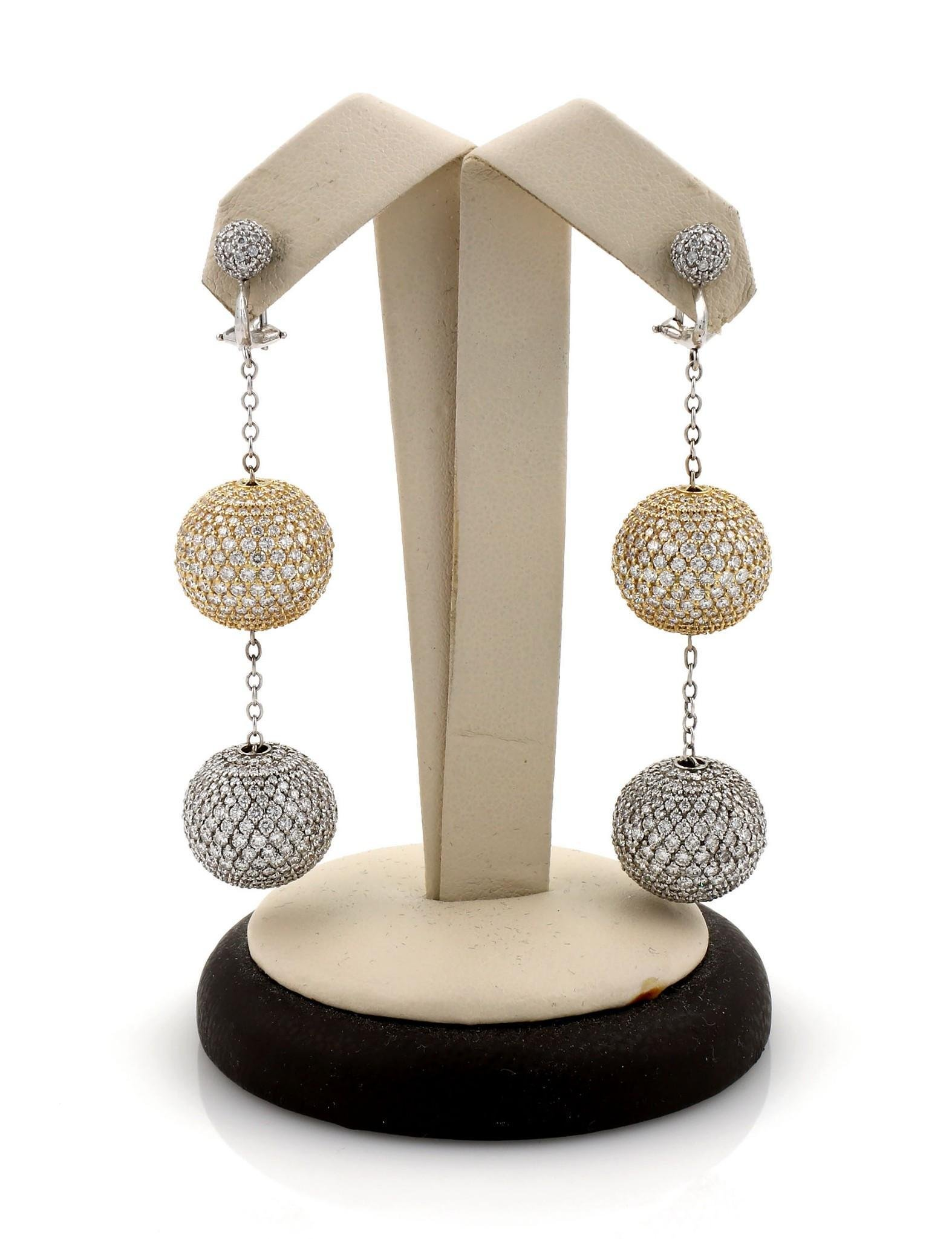 2 Tone Gold Pave Diamond Ball Drop Earrings