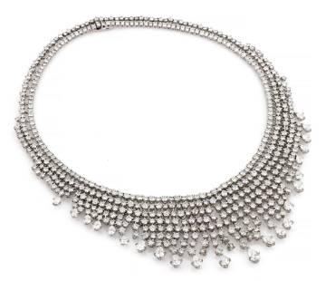 Piranesi 50.80ct EGL Pave Diamond Bib Necklace 18K WG