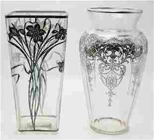 Pair of Sterling Silver Overlay Vases