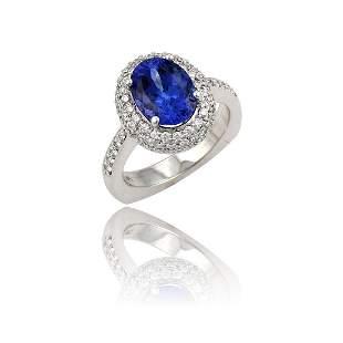 3.19ct Oval Tanzanite and Diamond Ring 18K White Gold